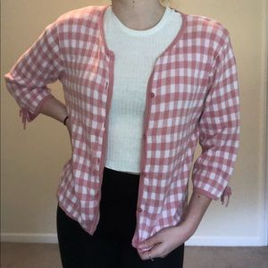 100% cotton salmon pink checkered cardigan